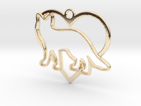 Fox & heart intertwined Pendant in 14k Gold Plated Brass