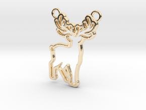 Deer Pendant in 14k Gold Plated Brass