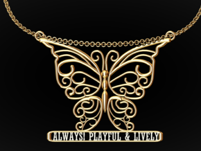 Inspiring Lively Butterfly Pendant in 14k Gold Plated Brass