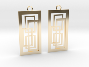Geometrical earrings no.2 in 14k Gold Plated Brass: Small