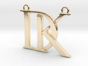 Initials D&K monogram in 14k Gold Plated Brass