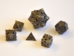 Fire Dice Set - Balanced in Polished Bronze Steel