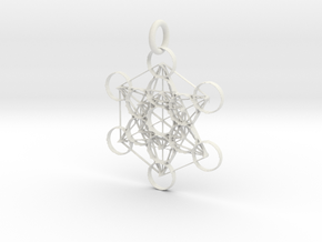 Metatron Sacred Geometry in White Natural Versatile Plastic: Extra Small