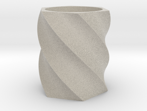 Spiral Hexagon Vase in Natural Sandstone
