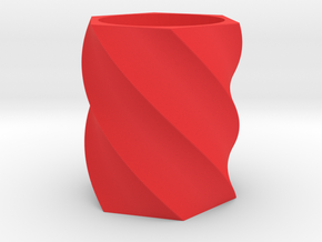 Spiral Hexagon Vase in Red Processed Versatile Plastic