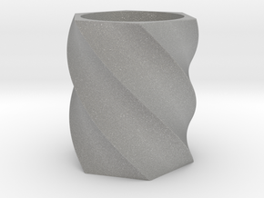 Spiral Hexagon Vase in Aluminum