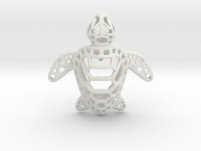 Sea Turtle Pendant in White Natural Versatile Plastic