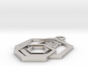 Geometrical pendant no.5 in Platinum: Small