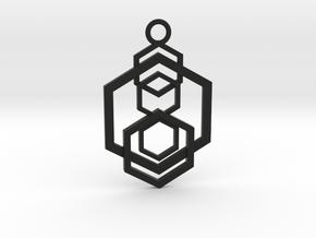 Geometrical pendant no.5 in Black Natural Versatile Plastic: Medium