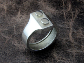 Brick Ring Simple in Polished Silver: 10 / 61.5