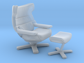 Miniature Re-vive Wing Back Chair - Natuzzi in Smooth Fine Detail Plastic: 1:12