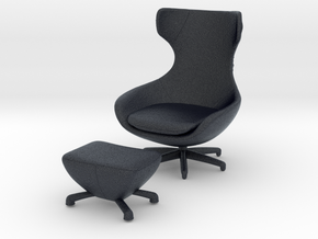 Miniature Caruzzo Leather Armchair - Leolux  in Black PA12: 1:12