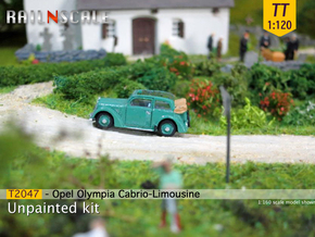 Opel Olympia Cabrio-Limousine (TT 1:120) in Smooth Fine Detail Plastic