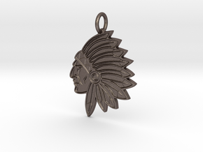 Warriors Pendant in Polished Bronzed-Silver Steel