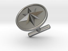 Cufflink - Wind Rose in Natural Silver