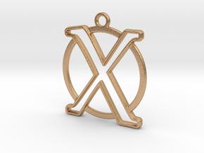 Initial X & circle monogram 35mm in Natural Bronze