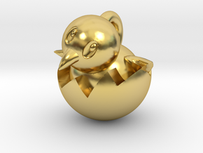 Hatching Chick Emoji Pendant in Polished Brass