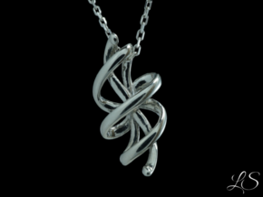 Rosett One Pendant in Polished Silver: Small