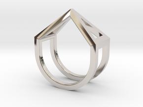 Ring - Pirámi in Rhodium Plated Brass: 4 / 46.5