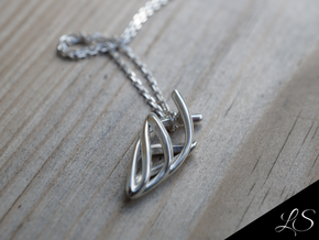 Ancient Spear Pendant in Polished Silver