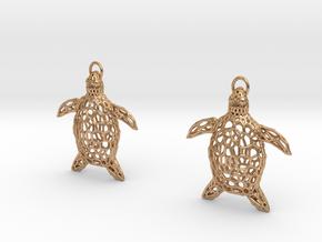 Turtle Earrings in Polished Bronze