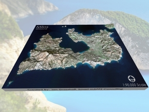 "Milos/Melos, Greece Map: 8""x10"" in Matte Full Color Sandstone"