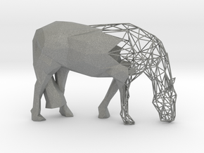 Semiwire Low Poly Grazing Horse in Gray PA12
