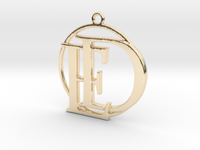 Initials D&E and circle monogram in 14k Gold Plated Brass