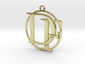 Initials D&F and circle monogram in 18k Gold Plated Brass