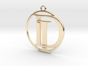 Initials D&I and circle monogram in 14k Gold Plated Brass