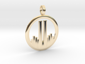 NEVER FORGET WTC 911 PENDANT in 14k Gold Plated Brass