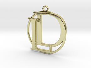 Initials D&L and circle monogram in 18k Gold Plated Brass