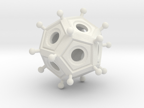 Roman Dodecahedron  in White Natural Versatile Plastic