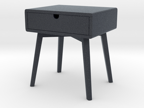 Miniature Bedside Table Series V1 - Yelkkin Dom  in Black Professional Plastic: 1:12