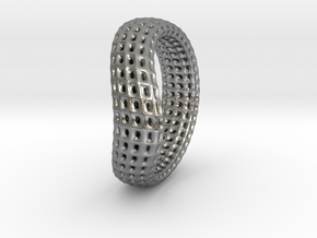 torus wireframe RING 03StackHoles in Natural Silver