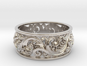 Ornament ring 2 in Rhodium Plated Brass: 6.5 / 52.75