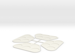 (4) 5 man 25mm base moving trays in White Natural Versatile Plastic