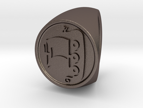 Custom signet ring 56 Size 18.5 in Polished Bronzed-Silver Steel