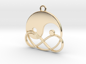 Yin-Yang and infinite intertwined in 14k Gold Plated Brass