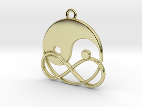 Yin-Yang and infinite intertwined in 18k Gold Plated Brass