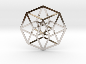 "4D Hypercube (Tesseract) 2.5"" in Rhodium Plated Brass"