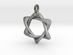 Star of David Pendant 04 in Fine Detail Polished Silver