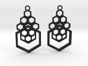 Geometrical earrings no.4 in Black Natural Versatile Plastic: Small