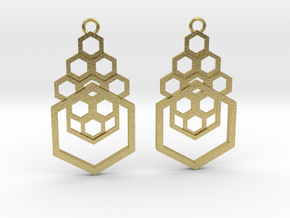 Geometrical earrings no.4 in Natural Brass: Small