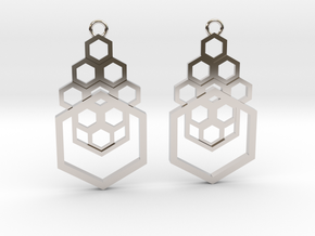 Geometrical earrings no.4 in Rhodium Plated Brass: Small
