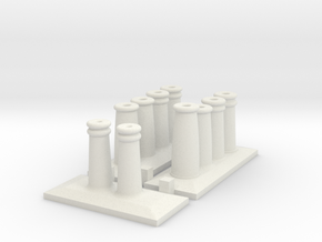 Metcalfe Terrace Houses - Chimney Pots-- OO Scale in White Natural Versatile Plastic
