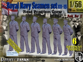 1/56 RN Seamen Rest Set101-15 in Smooth Fine Detail Plastic