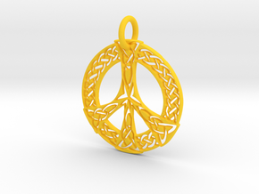 Celtic Peace Pendant in Yellow Processed Versatile Plastic: Extra Small