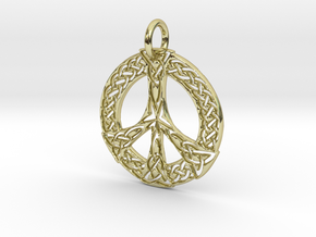 Celtic Peace Pendant in 18K Yellow Gold: Extra Small