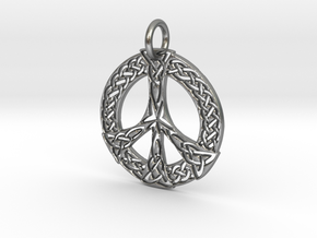 Celtic Peace Pendant in Natural Silver: Large